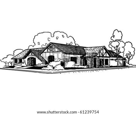 Rancher Style House - Retro Clip Art - stock vector