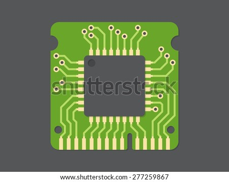 Random-access memory (RAM), flat design, vector illustration - stock vector