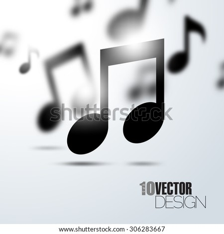 Random floating music notes with depth of field effect artistic eps10 vector background - stock vector