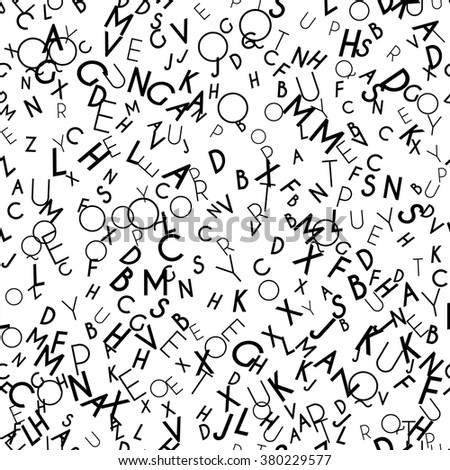 Random letters seamless pattern. Abstract background with alphabet. Creative wallpaper design in office style. Mix of letters. Latin ABC. Promotion of reading, publishing and copyright. Vector - stock vector