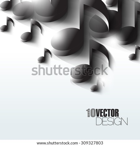 Random overlapping black music notes in bright artistic eps10 vector background - stock vector