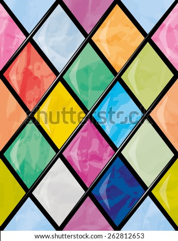 Random shapes patterned stained glass window panel of church. Seamless Vector Pattern - stock vector