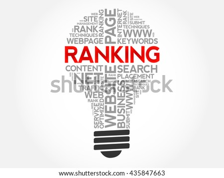 RANKING bulb word cloud, business concept - stock vector