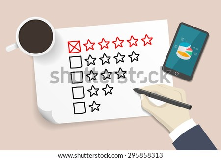 ranking drawn by hand on a white paper - stock vector