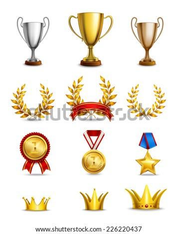 Ranking icons set of different size awards and medals isolated vector illustration - stock vector
