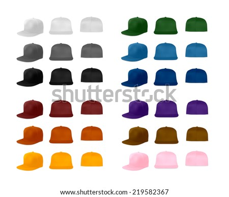 Rap cap template set, vector eps10 illustration. Flat bill baseball caps. - stock vector