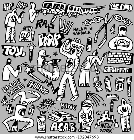 rap,hip hop ,graffiti - doodles set - stock vector