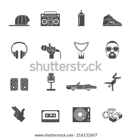 Rap hip hop music black icons set isolated vector illustration - stock vector