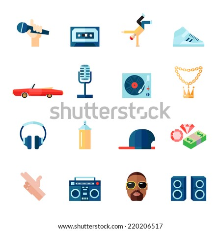 Rap hip-hop singing music flat icons set isolated vector illustration - stock vector