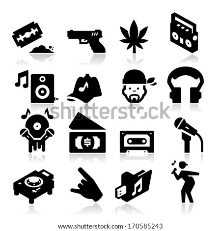Rap Music Icons - stock vector