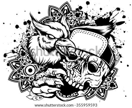 Rap skull - stock vector