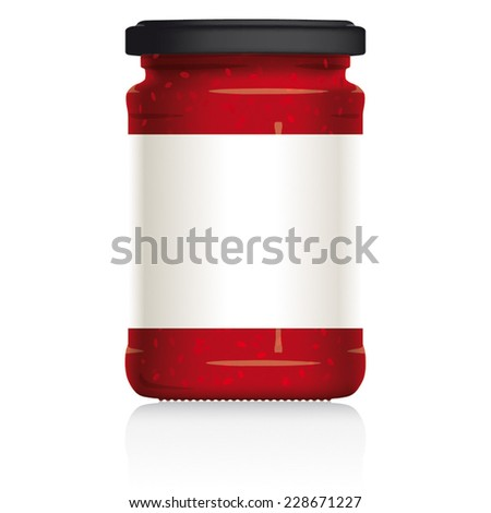 Raspberry Jam Jar with blank white label, vector visual illustration, Drawn with mesh tool. Fully adjustable & scalable. - stock vector