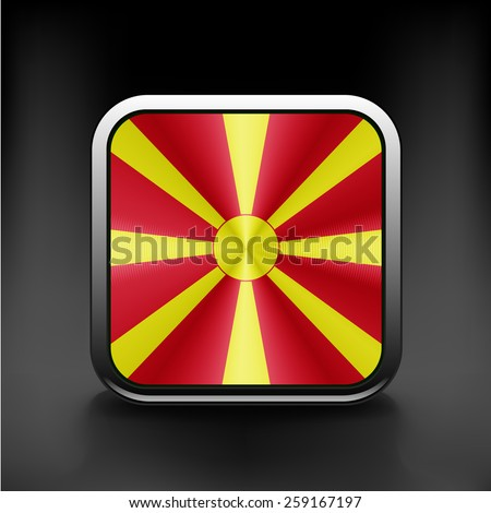 Raster version. Flag of Macedonia as round glossy icon - stock vector