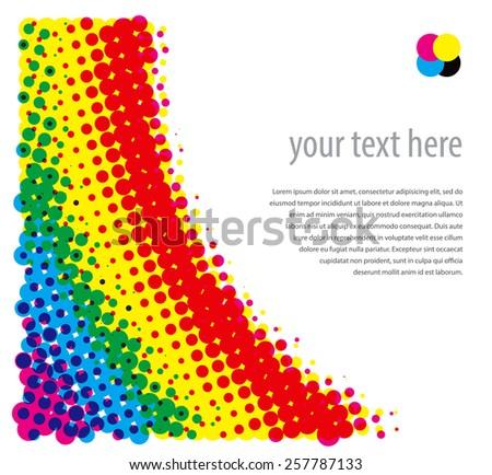 Rasterized (CMYK) halftone dotty background. Vector illustration - stock vector