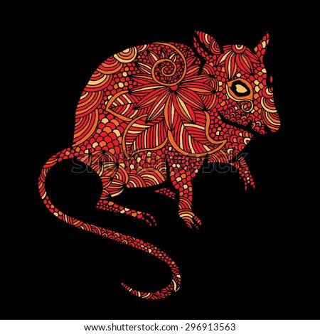 Rat illustration- Chinese zodiac - stock vector