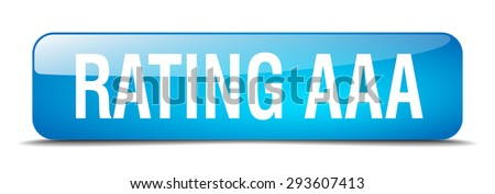 rating aaa blue square 3d realistic isolated web button - stock vector