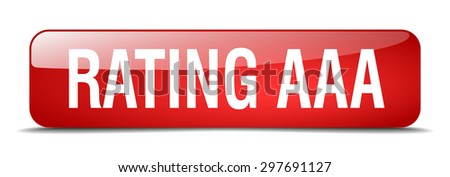 rating aaa red square 3d realistic isolated web button - stock vector