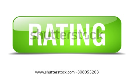 rating green square 3d realistic isolated web button - stock vector