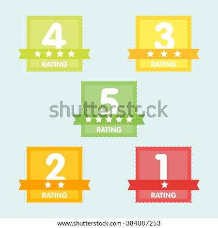 Rating label with five different label with star and place icon. Rating icon. Rating stars badges. Rating tags. Rating badges. Ribbon rating. Isolated rating elements. Rating sign vector icon. Ranking - stock vector