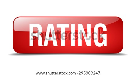 rating red square 3d realistic isolated web button - stock vector