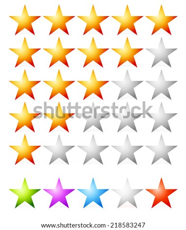 Rating stars. estimation, classification, ranking, feedback concepts. stars in yellow, green, purple, blue, grey, red colors - stock vector