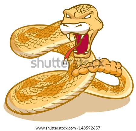 Rattlesnake curled and ready to strike - stock vector