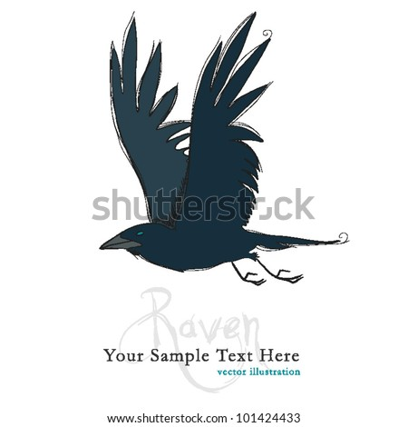 Raven Hand drawn - stock vector