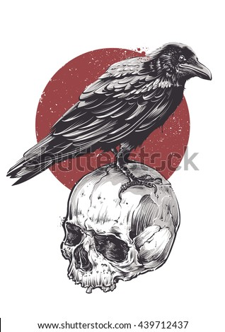 Raven on skull grunge image. Hand drawn vector art. Sketch vector illustration. - stock vector
