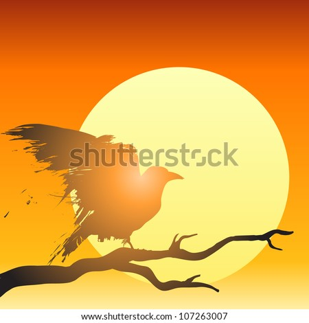 Raven or crow perched in a tree in front of the setting sun in vector illustration. - stock vector