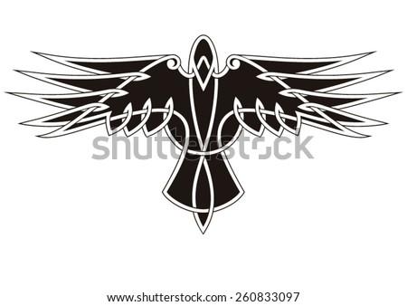 Raven tattoo ornament - stock vector