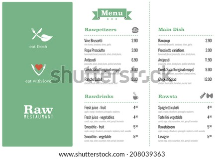 Raw restaurant food menu design template - stock vector