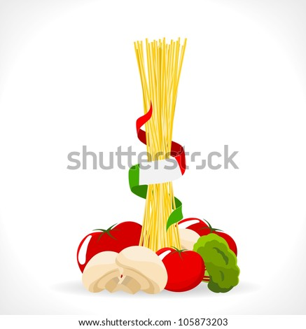 raw spaghetti with mushrooms, tomatoes and broccoli - vector illustration - stock vector