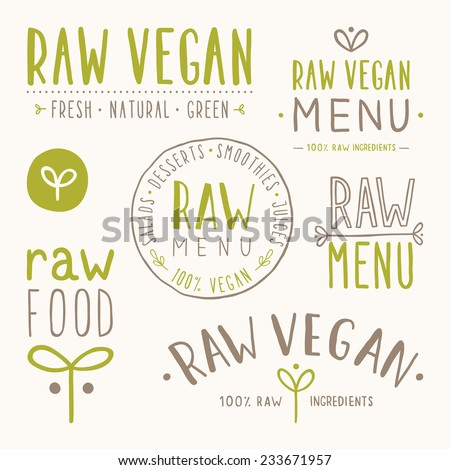 Raw vegan badges. Vector EPS 10 hand drawn labels - stock vector