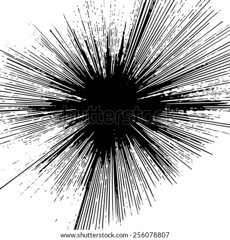 ray burst black Big Bang - stock vector