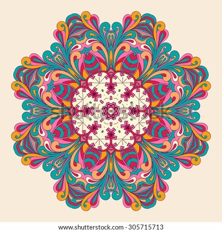 Ray edge mandala tracery wheel mehendi  design. Tracery calming ornament. Neat even colorful harmonious doodle texture. Indifferent discreet. Ambitious bracing usable doodling mehndi pattern. Vector. - stock vector