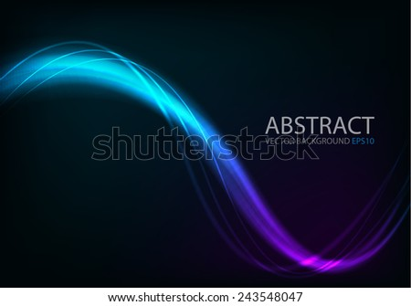 Ray light background blue and purple curve line technology digital lighting art background for text and message design , vector - stock vector