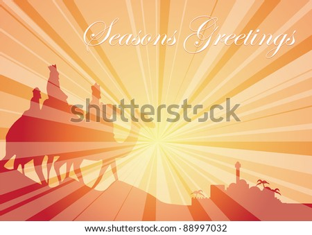 rays belen camels greetings - stock vector