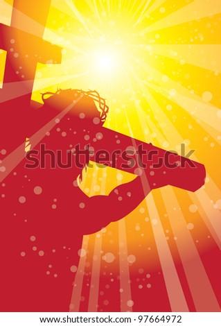 rays christ on cross 1 - stock vector