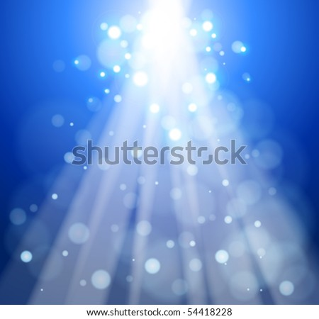 Rays of light on a blue background - an abstract illustration. Eps10 - stock vector