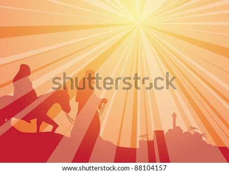 rays with mary and joseph - stock vector