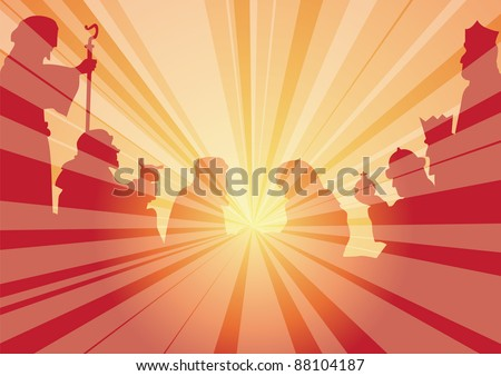 rays with shepherds and kings - stock vector