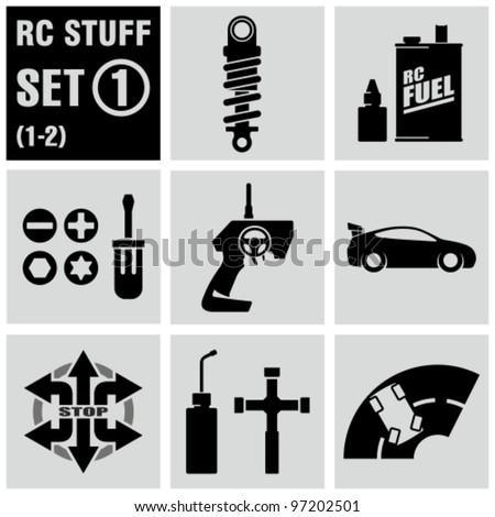 RC - vector black icon set 1. Remote control toys. - stock vector