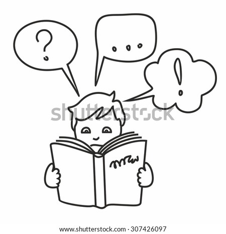 Read a book, get information, questions, answers, thoughts, outline drawing. Boy, man, child, reading a book and have some questions and thoughts. Obtain and study information. Contour drawing.   - stock vector