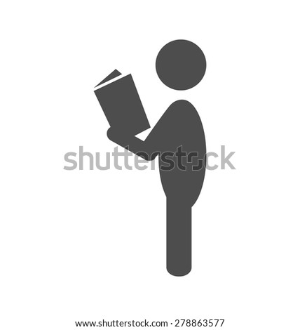 Read book man flat icon pictogram isolated on white background - stock vector