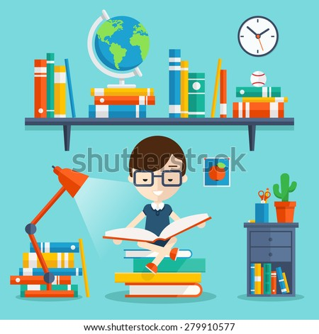 Read books concept. Education and school, study and literature. Vector flat illustration with young man sitting on stock of books and read his favorite book next to the bookshelf, lamp, bedside table - stock vector
