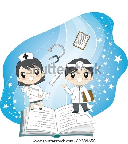 Reading Book Together - stock vector