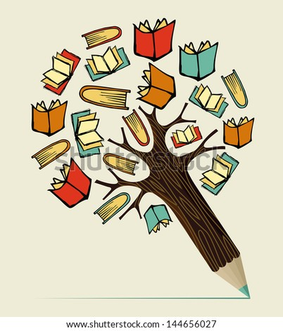 Reading books education concept pencil tree. Vector illustration layered for easy manipulation and custom coloring. - stock vector