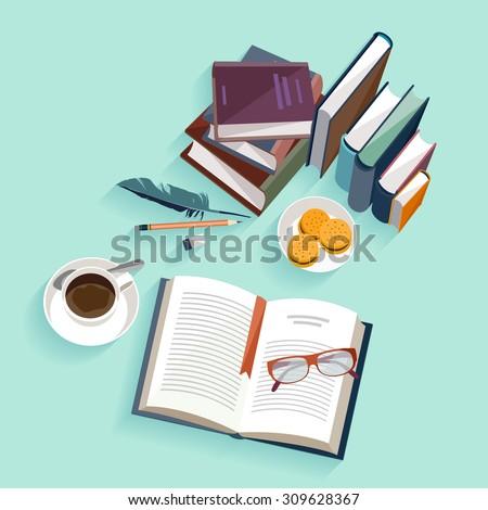Reading books. Flat design. - stock vector