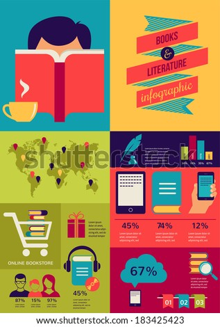 Reading books infographics, set of flat icons - stock vector