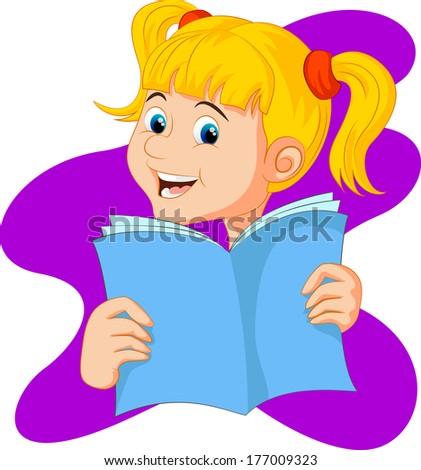 Reading Cartoon - stock vector